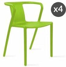 Lot de 4 fauteuil de jardin design en plastique