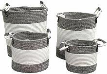 Lot de 4 paniers à linge rond en corde de coton
