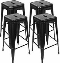 Lot de 4 Tabourets de Bar Industriel Chaise Haut