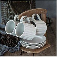 Lot de 4 tasses à café concaves en céramique