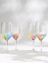 Lot de 4 verres à vin pour pique-nique à motif