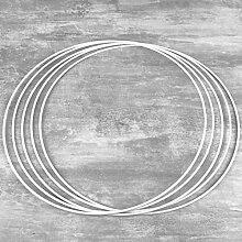 Lot de 5 Cercles métalliques Blanc 40 cm de