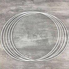 Lot de 5 Cercles métalliques Blanc diam. 45 cm