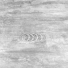 Lot de 5 Cercles métalliques Blanc diam. 5 cm