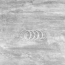 Lot de 5 Cercles métalliques Blanc diam. 7 cm
