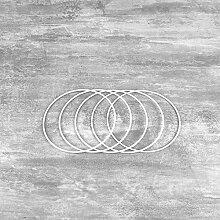 Lot de 5 Cercles métalliques Blanc diamètre 12
