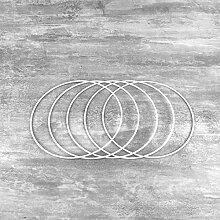 Lot de 5 Cercles métalliques Blanc diamètre 15
