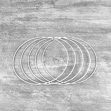 Lot de 5 Cercles métalliques Blanc diamètre 18