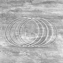 Lot de 5 Cercles métalliques Blanc diamètre 20
