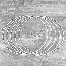 Lot de 5 Cercles métalliques blanc diamètre 25