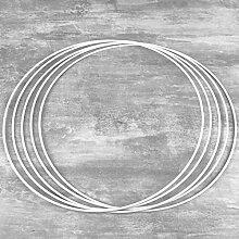 Lot de 5 Cercles métalliques Blanc diamètre 30
