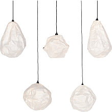 Lot de 5 lampes à suspension en papier blanc 5