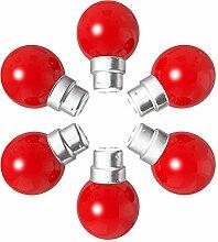 Lot de 6 ampoules Led B22 1W Guirlande rouge