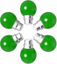 Lot de 6 ampoules Led B22 1W Guirlande vertes