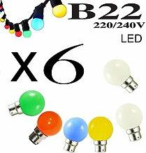 Lot de 6 ampoules LED B22 1W Rouge, Bleu, Verte,