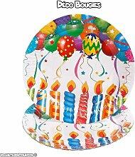 lot de 6 assiettes en carton anniversaire