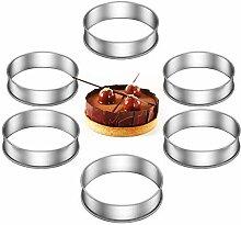 Lot de 6 cercles à tarte double roulés pour