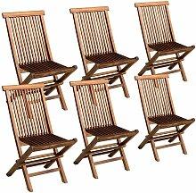 Lot de 6 chaises de jardin en teck huilé LOMBOK -