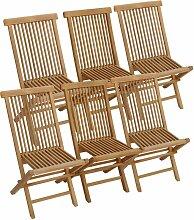 Lot de 6 chaises de jardin en teck LOMBOK - Naturel