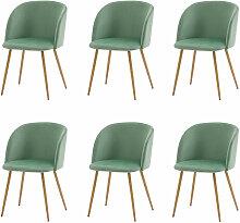Lot de 6 chaises de salle a manger-Tissu velours