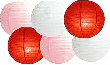 Lot de 6 lanternes rondes en papier pour