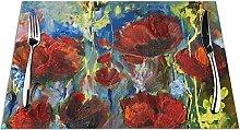 Lot de 6 sets de table avec imprimé floral rouge