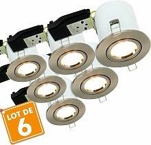 Lot de 6 Spots orientable acier brossé BBC RT2012