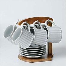 Lot de 6 tasses à café concaves en céramique