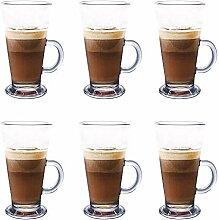 Lot de 6 tasses à latte en verre de 270 ml,