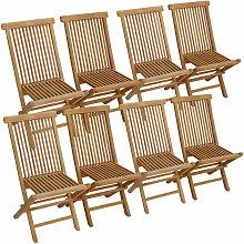 Lot de 8 chaises de jardin en teck LOMBOK - Naturel