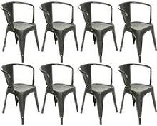 Lot de 8 chaises salle à manger hombuy noir style