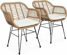 Lot de deux fauteuils effet bambou - résine et