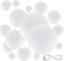 Lot of 20 Lanterne en Papier, Lampion Papier Blanc