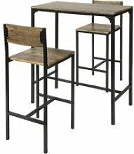 Lot table et chaises de bar de style industriel