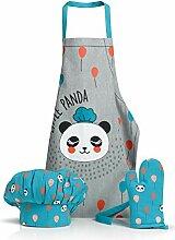 Lot Tablier Toque Gant de cuisine Panda bleu