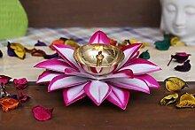Lotus Diya Puja Lampe à huile en métal peint à