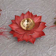 Lotus Diya Puja Lampe à huile en métal peinte à
