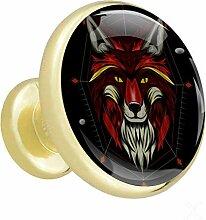 Loup rouge foncé Poignées de tiroir Poignées et