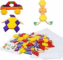 LOVEYue 60 Pcs Coloré en Bois Enfants Jigsaw