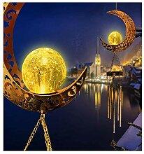 LUCKLY Solaire Carillon Éolien,Lune Crackle Boule