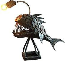 luckytwoe Lampe requin faite à la main, lampe LED