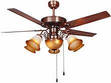 Lumière de ventilateur de plafond rétro Fer