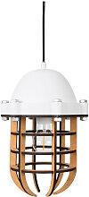 Luminaire suspension métal et bois blanc