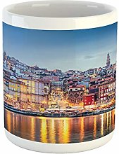 Lunarable European Mug, City Scape by The River in