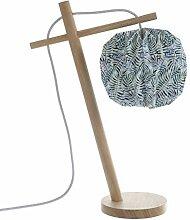 LUSSIOL 233869 Lampes table et chevet, Bois, Vert,