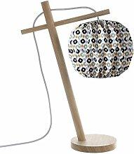 LUSSIOL 233871 Lampes table et chevet, Bois, Bleu,