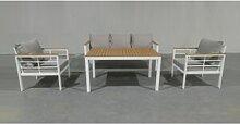 Lusso Salon de jardin 5 places en aluminium blanc
