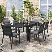 Lusso Salon de jardin avec table extensible et 6
