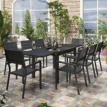 Lusso Salon de jardin avec table extensible et 8