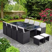 Lusso Salon de jardin encastrable 12 places en